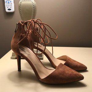Brown Suede Lace Up Kitten Heels